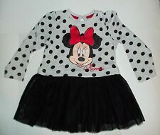 Baby Girl Grey Dress with Black Netting Skirt and Minnie Mouse Face detail