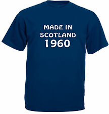Made In Scotland 1960, 61, 62, 63, 64, 65, 66, 67, 68, 69 T-Shirt in navy.