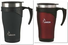 LAKEN® THERMO 0.5L Edelstahl Thermotasse Kaffee to go + UP®-Schlüsselband