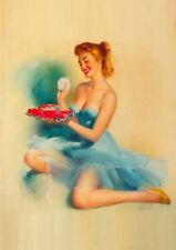 Edward Runci Red Haired Pinup with Toy Car Vintage Art Print - A4 A3 A2 A1