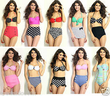 2015 NEW Vintage Swimwear High Waist Polka dot Bikini 2 Pieces bra thongs string