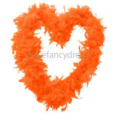 ORANGE 65G FEATHER BOA FANCY DRESS COSTUME ACCESSORY HEN NIGHT PARTY DECORATION