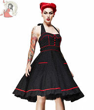 HELL BUNNY 50's VANITY polka dot DRESS rockabilly BLACK