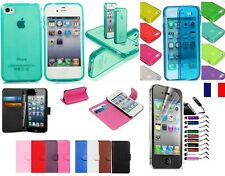 COQUE ETUI HOUSSE SILICONE GEL CUIR IPHONE 4/4S 5/5S 6/6+  +FILM+STYLET SOUS 48H