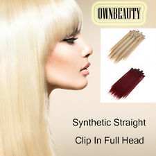 Premium Straight 8 Pieces Clip In Hair Extensions Full Head Synthetic