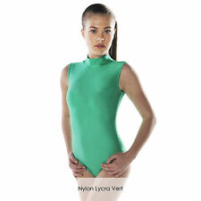 Ladies Nylon Lycra Dance Gear Gemma Polo Neck Sleeveless Dance Leotard