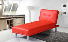 Chaise Longue 1 Seater Single Chair Sofa Bed- Faux Leather Black/Red/White/Brown