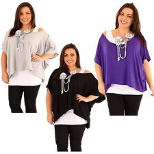 New Womens  Plus Size Floral Necklace 2 In 1 Kimono Tops 16-26