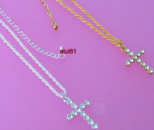 SILVER/GOLD/PLATED CRYSTAL CROSS PENDANT CHAIN NECKLACE ON ROPE CHAIN NEW