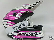 WULF ADVANCE Casco Bambini Moto Scooter Off road Motocross Corsa Rosa + occhiali