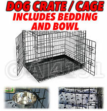 Pet Dog Puppy Overnight / Transport / Training Crate Cage with Bedding & Bowl