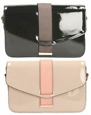 Ladies Clarks Mapello Buzz Synthetic Patent Shoulder Bag With Detachable Strap