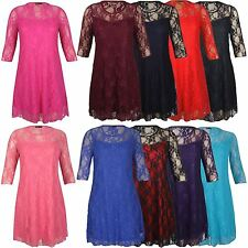 New Womens Plus Size 3/4 Sleeve Floral Lace Shift Dress 14-28