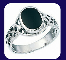Sterling Silver Black Onyx Oval Celtic Ring  (sizes K - V available)