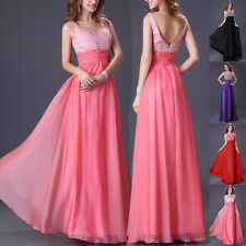 UK SEXY Long BEAD Chiffon Formal Evening Ball Gown Party Prom Bridesmaid Dresses