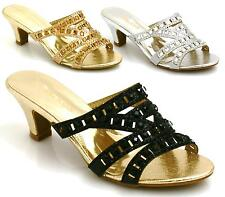 LADIES FLAT LOW HEEL DIAMANTE CUT OUT PEEP TOE PARTY WEDDING SANDALS SHOES