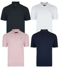 Farah Men's Cotton Polo Shirt Casual Top T-Shirt White Red Black Navy Blue Pink