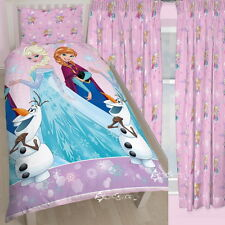 Disney Frozen Magic Single Rotary Duvet and Matching Curtains Set Elsa Anna Olaf