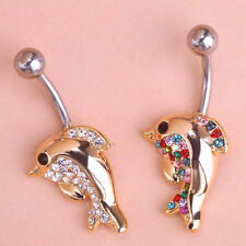 Navel Belly Bars Crystal Dangly Body Piercing Belly bar Button Ring gold dolphin