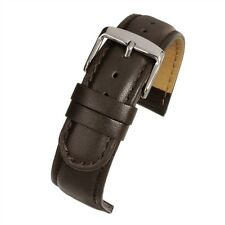 DARK BROWN EXTRA LONG 18mm 20mm  Padded Leather Watch Strap