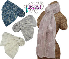 Ladies scarf Beautiful Rose Print With Embroidery Floral Design in 4 Colours