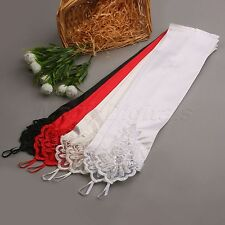Satin Spandex Lace Beaded Fingerless Bridal Wedding Evening Party Long Gloves