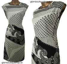 LADIES WHITE STUFF BLACK WHITE ABSTRACT SUMMER FLORAL TEA DRESS TUNIC SIZE 8-18