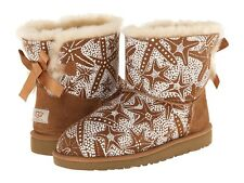 New UGG Uggs Classic Kids Girls Mini Bailey Bow Starfish Chestnut Youth Boot 3 4