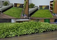 Green Small X Large Modern Plain 5cm Shaggy Rugs Thick Soft Pile Area Rug Mats