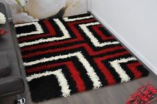 Red Black White Tides Modern Plain 5cm Shaggy Rugs Thick Soft Pile Area Rug Mats