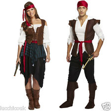 WOMENS MEN'S PIRATE CARIBBEAN BUCCANEER COSTUME OUTFIT FANCY DRESS PARTY DRESS