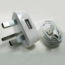 Genuine Apple iPhone 6 6+ 5 5C UK iPod Charger Adapter A1399/USB Cable Original