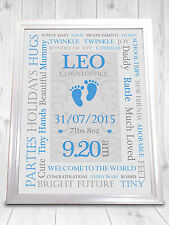 Personalised Christening Print, Boy and Girl, Perfect Gift - New Baby SOPH
