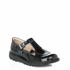 Kickers Kick  T Bar Buckle Shoes  Black Patent Leather 12533
