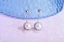 Navel Belly Bar Crystal Dangly Body Piercing Button gold plated pearl flower