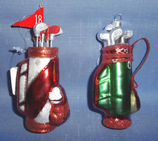 RAZ Golf Bag w/ Golf Clubs Christmas Ornament-Choice Of Red/White Or Red/Green