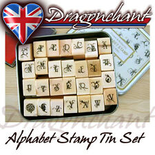 28pcs Alphabet Rubber Stamps Flower Butterfly Vintage Style Tin Box Set FREE Ink