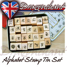28pcs Alphabet Rubber Stamps Flower Butterfly Vintage Style Tin Box + FREE Ink