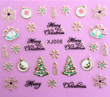 Nail Art 3D Decal Stickers Merry Christmas Tree Snowflakes Candles Holidays XJ