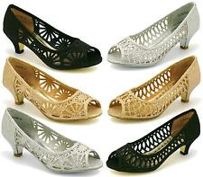 Ladies Diamante Mid Heel Flat Casual Peep Toe Summer Bridal Sandals Shoes Size