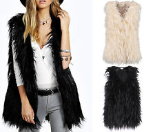 New Woman Faux Fur Vest Mongolian Long Hair Waistcoat Gilet Coat Jacket Outwear