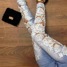 Hot Sexy Femme Pantalon Pants Collant Jeans Denim Skinny en Dentelle Floral AG