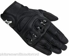 "ALPINESTARS ""CELER"" LEATHER MOTORCYCLE ROAD RACE SHORT SUMMER GLOVE BLACK VENTED"