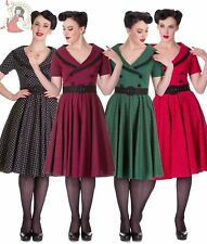 HELL BUNNY 50's MIMI POLKA DOT rockabilly DRESS BLACK RED GREEN BURGUNDY