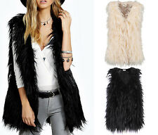 New Womens Faux Fur Vest Mongolian Long Waistcoat Gilet Coat Jacket Bodywarmer