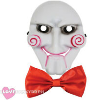 BILLY PUPPET COSTUME SET HALLOWEEN FANCY DRESS MASK AND RED BOW TIE MOVIE FILM