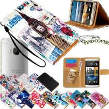 Folio Stand Card Wallet Leather Cover Case For Various HTC Mobile Phones + Strap