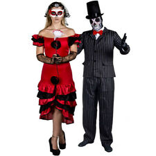 COUPLES DAY OF THE DEAD BRIDE GROOM HALLOWEEN FANCY DRESS COSTUMES MR AND MRS