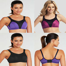 Ladie's High Impact Sports Bra Top Wirefree Active Pink Purple Black V Sizes NEW