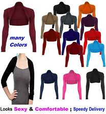 LADIES WOMENS PLAIN LONG SLEEVE BOLERO SHRUG CARDIGAN TOP PLUS SIZE 8-24 NormBol